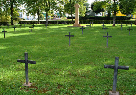 Some of the many German World War I graves at the Briey German War Cemetery.