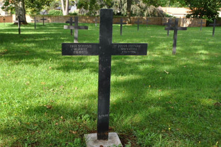 One of the many German World War I graves at the Briey German War Cemetery. Both these soldiers were killed in 1914.