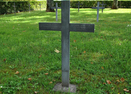 One of the many German World War I graves at the Briey German War Cemetery. Both these soldiers were killed in 1916.