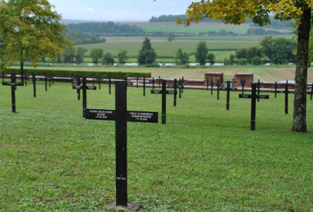 Some of the many German World War I graves at the Consenvoye German War Cemetery.