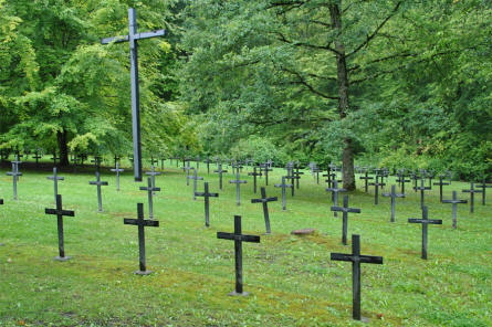 Some of the many German World War I graves at the Épinonville German War Cemetery.
