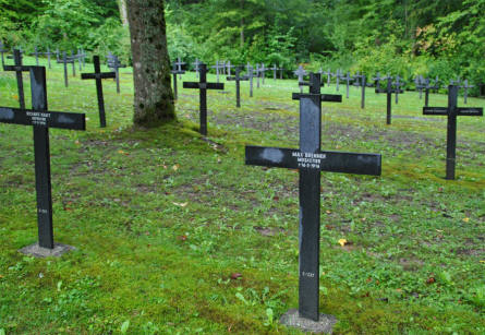 Some of the many German World War I memorial stones at the Épinonville German War Cemetery.