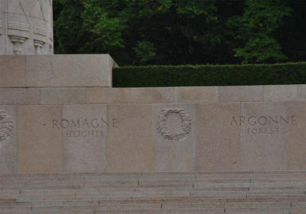 At the base of the Montfaucon American Monument and  World War I memorial the name of some of the major World War I battlefields are engraved.