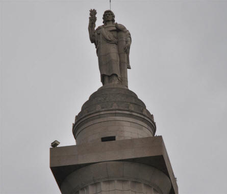 The statue on top of the Montfaucon American Monument.