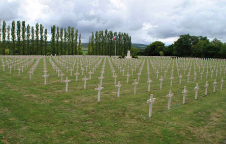 Some of the many French World War I & II graves at the Verdun-Bevaux French Cemetery in Verdun.