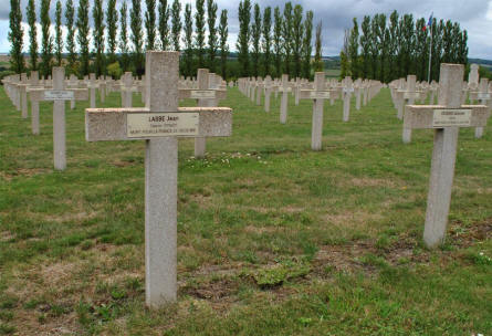 Some of the many French World War I & II graves at the Verdun-Bevaux French Cemetery in Verdun. The solider in front (left) was killed in 1916.