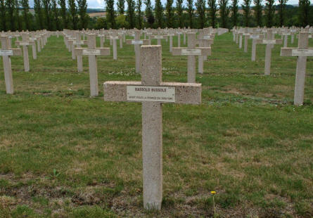 Some of the many French World War I & II graves at the Verdun-Bevaux French Cemetery in Verdun. The grave at the front is for a person that lost his life during World War II.