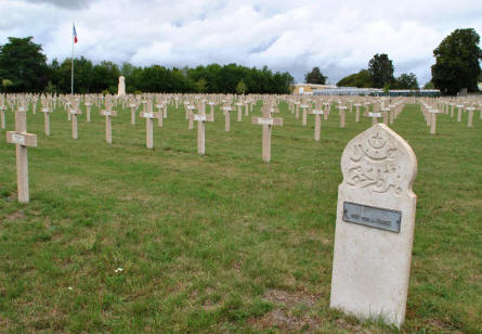 Some of the many French World War I & II graves at the Verdun-Bevaux French Cemetery in Verdun. Including one of the Muslim graves.