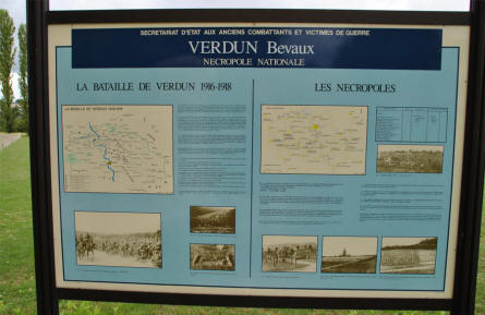 A sign at the entrance to the Verdun-Bevaux French Cemetery in Verdun.