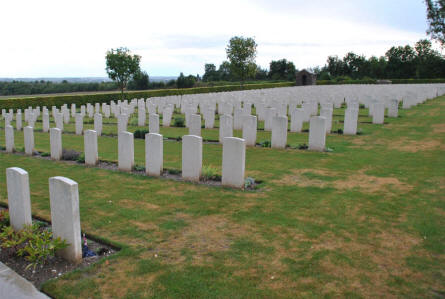 A section of the World War I graves at the Adelaide Cemetery in Villers-Bretonneux - just east of Amiens.