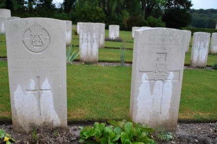 Some of the World War I grave at the Adelaide Cemetery in Villers-Bretonneux - just east of Amiens.