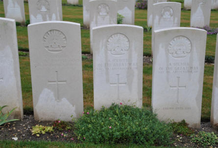 "Some of the many ""unknown"" Australian World War I graves at the Adelaide Cemetery in Villers-Bretonneux - just east of Amiens."