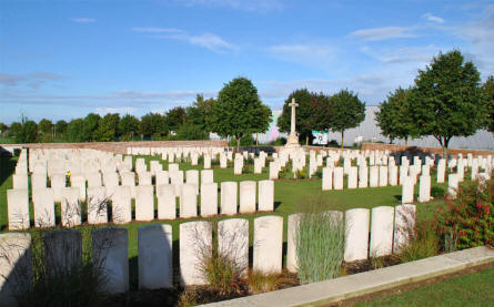 The Bapaume Post Military Cemetery just east of Albert.