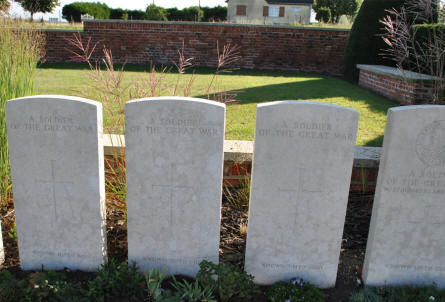 "Some of the many World War I ""A Soldier of the Great War"" graves at the Bapaume Post Military Cemetery just east of Albert."