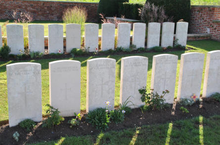 Some of the many World War I graves at the Bapaume Post Military Cemetery just east of Albert.
