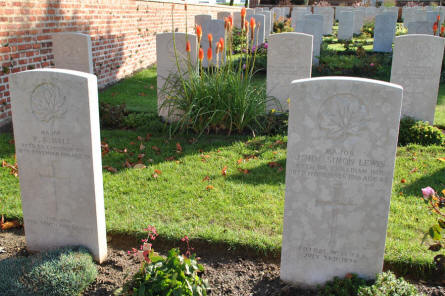 The World War I graves of two Canadian majors (both killed on the 18th of November 1916) at the Bapaume Post Military Cemetery just east of Albert.