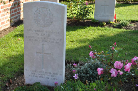 The World War I grave of Lieutenant Colonel W. Lyle (killed on the 1st of July 1916) at the Bapaume Post Military Cemetery just east of Albert.