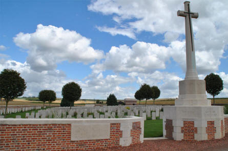 The entrance to the Bray Military Cemetery at Bray-sur-Somme.