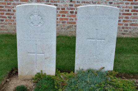 Two of the Australian World War I graves at the Bray Military Cemetery at Bray-sur-Somme.