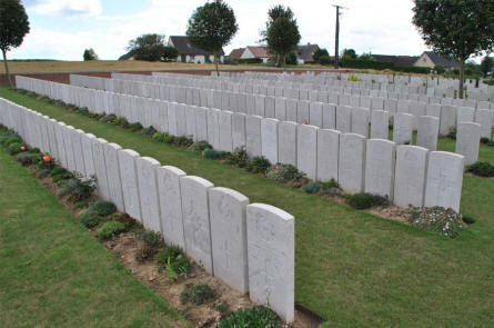 Some of the very tight rows of World War I graves at the Bray Military Cemetery at Bray-sur-Somme.
