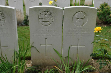 The World War I graves of Private John Clapp and Lance Corporal D. M. Cameron (both killed 28th of August 1918) at the Daours Communal Cemetery Extension.