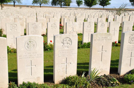 "Some of the many ""Unknown"" World War I graves at the Ovillers Military Cemetery just east of Albert."