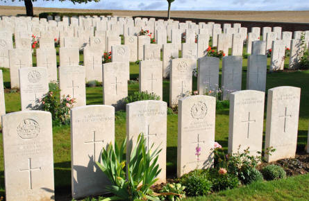 Some of the many World War I graves at the Ovillers Military Cemetery just east of Albert.