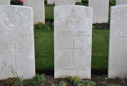 "The World War I grave of ""A British Airman of the Great War"" at the Ovillers Military Cemetery just east of Albert."