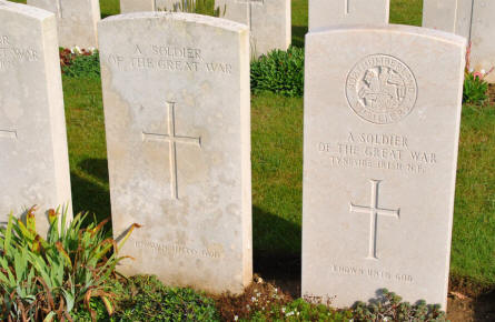 "Two of the many ""Unknown"" World War I graves at the Ovillers Military Cemetery just east of Albert."