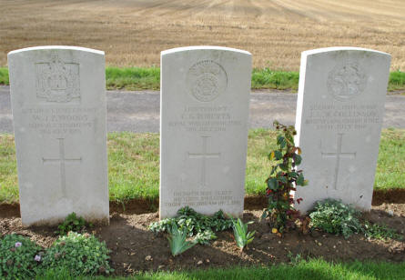 The World War I graves of two Second Lieutenants and a Lieutenant (all killed in July 1916) at the Ovillers Military Cemetery just east of Albert.