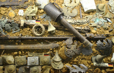 "Some of the German World War I ""debris"" displayed at the Somme Trench Museum - Somme 1916 - in Albert."