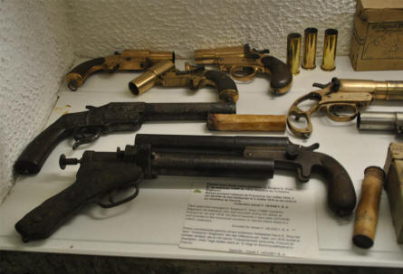 Some World War I signal guns displayed at the Somme Trench Museum - Somme 1916 - in Albert.