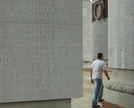 Some of the 72,000 names that are carved into the Thiepval Memorial.