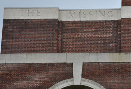 The inscriptions at the left side of the top of the Thiepval Memorial.