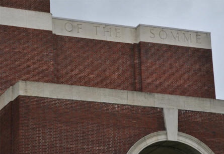 The inscriptions at the right side of the top of the Thiepval Memorial.