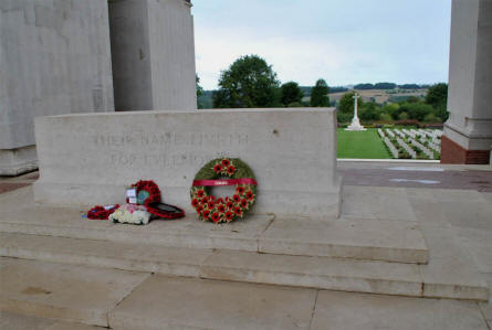 The central memorial stone inside the Thiepval Memorial.