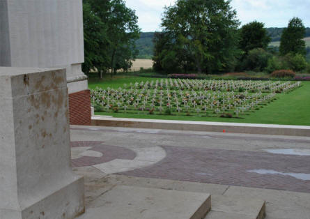 The French section of the Thiepval Memorial cemetery - seen from the Memorial.