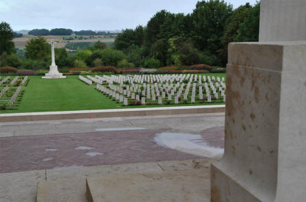 The Commonwealth section of the Thiepval Memorial cemetery - seen from the Memorial.