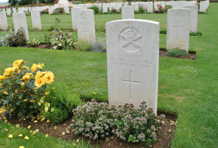 "One of the many Commonwealth ""A Soldier of the Great War"" graves at the Thiepval Memorial."