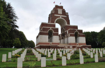 The Thiepval Memorial seen from the cemetery.