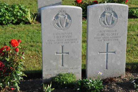 The World War I graves of Private J. Dawson and Private O McClorey (both from the Royal Irish Regiment - and both killed in March 1918) at the Villers-Bretonneux Military Cemetery (Amien).