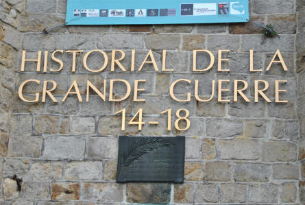 A sign above the entrance to the Museum of the Great War 1914-1918 in Péronne.