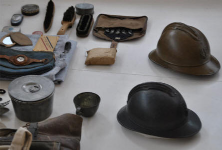 French World War I helmets and other personnel equipment displayed at the Museum of the Great War 1914-1918 in Péronne.
