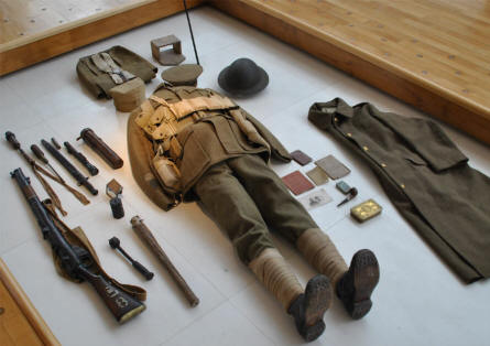 A British World War I uniform displayed at the Museum of the Great War 1914-1918 in Péronne.