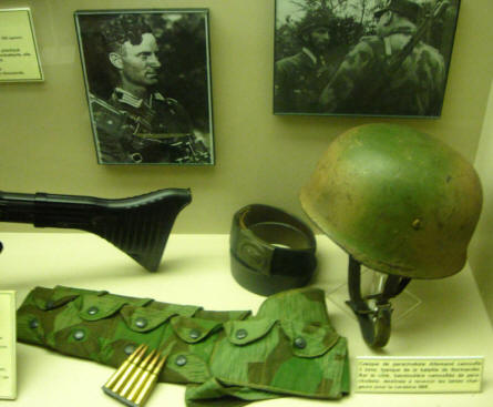 German World War II paratrooper equipment displayed at the World War II Museum - Ambleteuse.