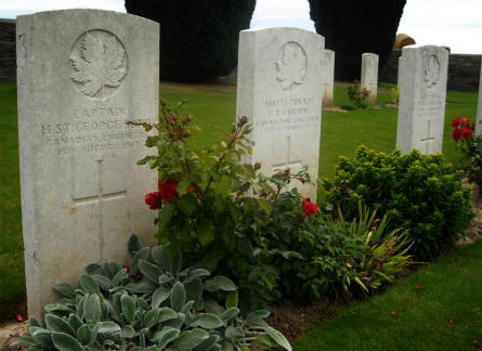 Some of the British World War I graves located on the Quatre Vents Military Cemetery in Estree-Cauchy.