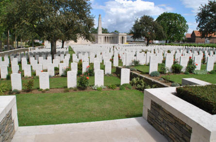 Some of the many World War I graves at the Vis-en-Artois British Cemetery - with the Memorial in the background.