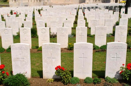 Some of the many World War I graves at the Vis-en-Artois British Cemetery.