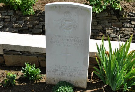 The World War I grave of Serjeant C. J. Abrahams (Royal Flying Corps - killed ont the 19th of May 1917) at the Vis-en-Artois British Cemetery.