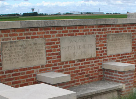 A part of the entrance at the Windmill British Cemetery in Monchy-le-Preux - just east of Arras.